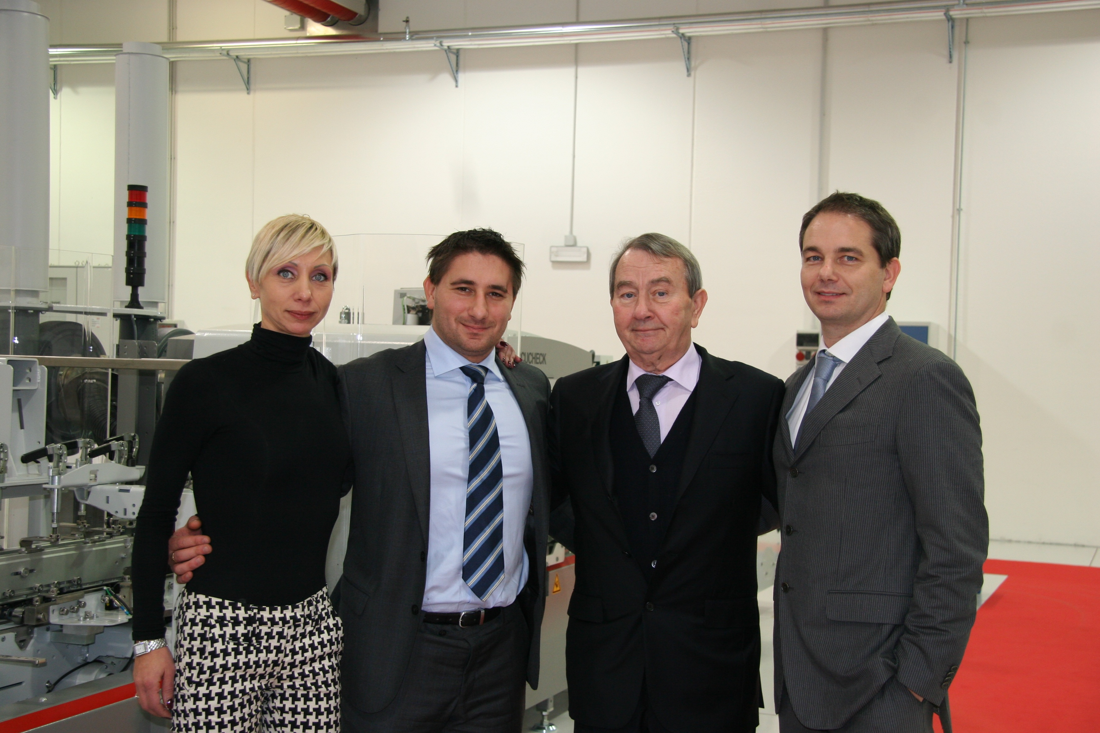 From the left, Ms Elisabetta Bressan (lawyer, Legal Department), Mr Michel Bressan (engineer, R&D), Mr Dino Bressan (Founder), Mr Alessio Bressan (Igb President)